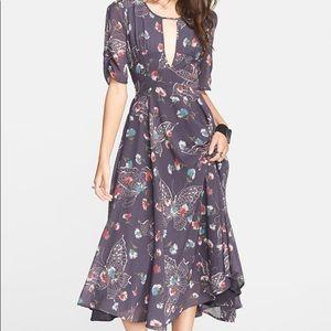 "Free People ""Bonnie"" Blue Butterfly Chiffon Dress"
